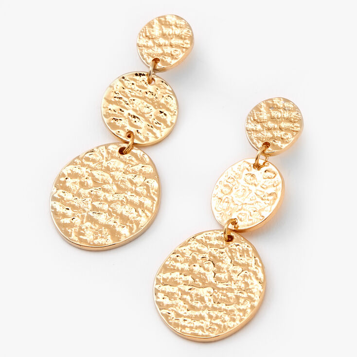 """Gold 2"""" Trio Hammered Circle Drop Earrings,"""