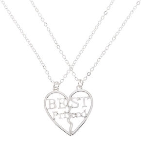 Best Friends Silver Heart Pendant Necklace - 2 Pack,