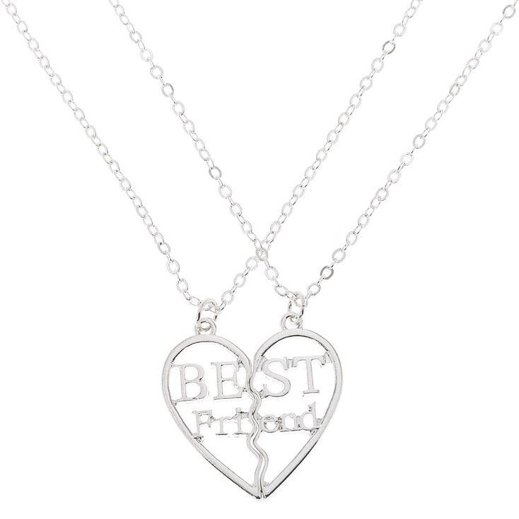 Best Friends Silver Heart Pendant Necklace - 2 Pack,
