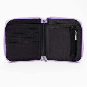 Mini porte-monnaie à zip holographique aile et cœur - Violet,