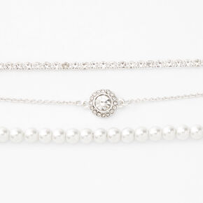 Silver Pearl Chain Bracelets - 3 Pack,