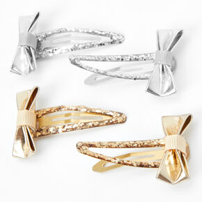 Claire's Club Metallic Bow Jumbo Snap Hair Clips - 2 Pack,
