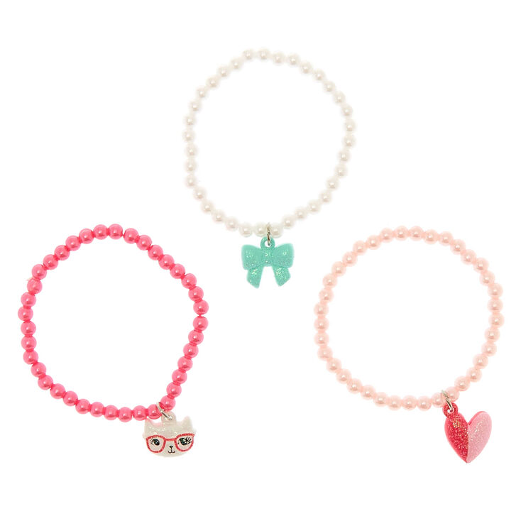 Claire's Club Pearl Stretch Charm Bracelets - 3 Pack,