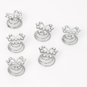 Butterfly Hair Spinners - Silver, 6 Pack,