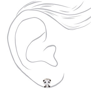 Cute Panda Clip On Earrings - White,