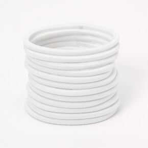 Luxe Elastic Hair Ties - White, 12 Pack,