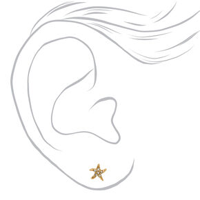 18kt Gold Plated Crystal Starfish Stud Earrings,