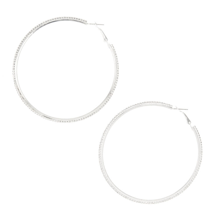 Silver Glass Rhinestone 70MM Hoop Earrings,