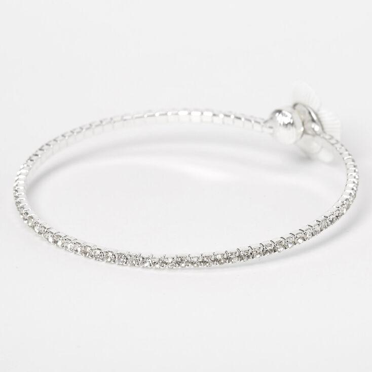 Silver Rhinestone Daisy Flower Cuff Bracelet,