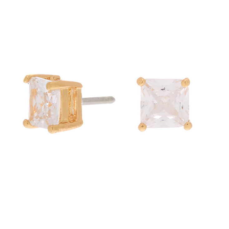 Gold Cubic Zirconia Square Stud Earrings - 6MM,