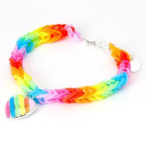 Rainbow Striped Heart Charm Looped Bracelet,
