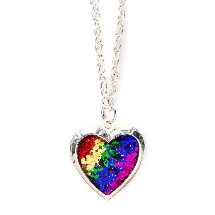 Rainbow glitter heart locket pendant necklace claires us rainbow glitter heart locket pendant necklace aloadofball Images