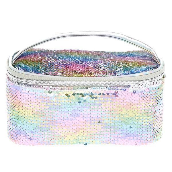 Claire's - reversible sequin pastel structured makeup bag - 1