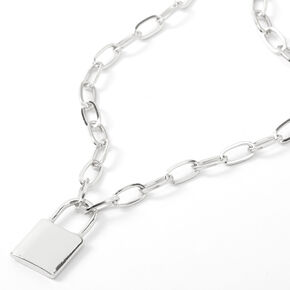 Silver Lock Pendant Chain Necklace,