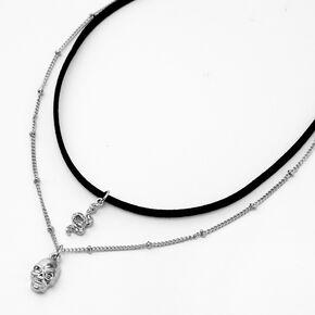 Collier multi-rangs ras-de-cou cordon avec crâne serpent couleur argentée - Noir,