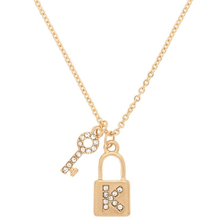 Gold Lock & Key Initial Pendant Necklace - K,
