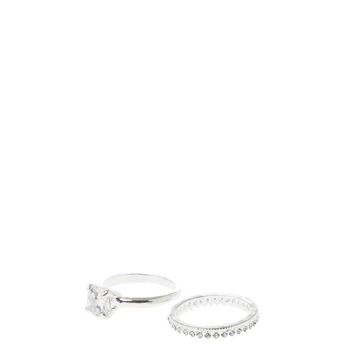 dfa0655f5 Silver Crystal Ring & Band | Claire's US