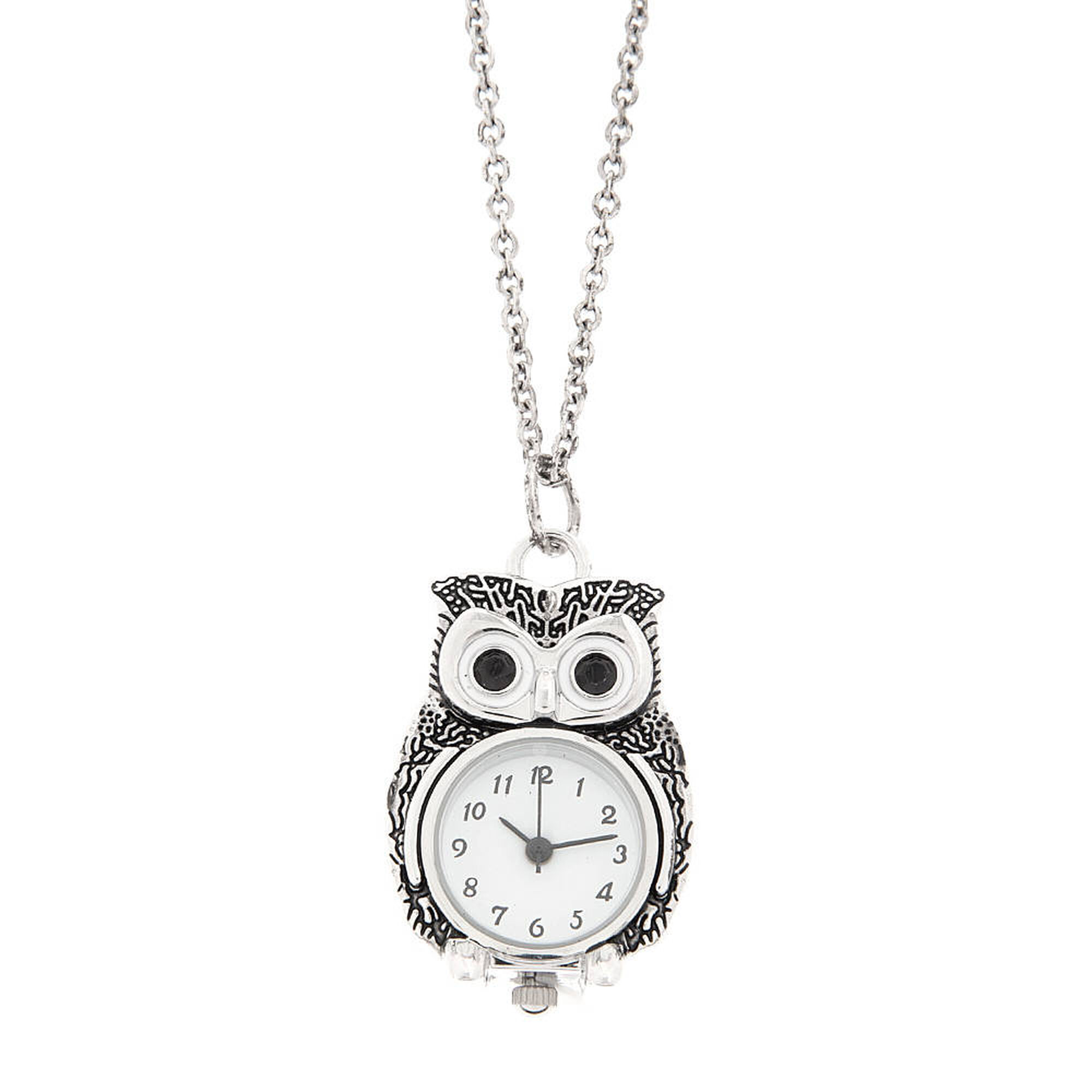 Antique silver owl pocket watch pendant necklace claires us antique silver owl pocket watch pendant necklace mozeypictures Gallery
