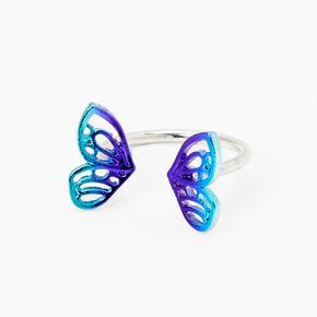 Silver Double Butterfly Open Ring - Purple,