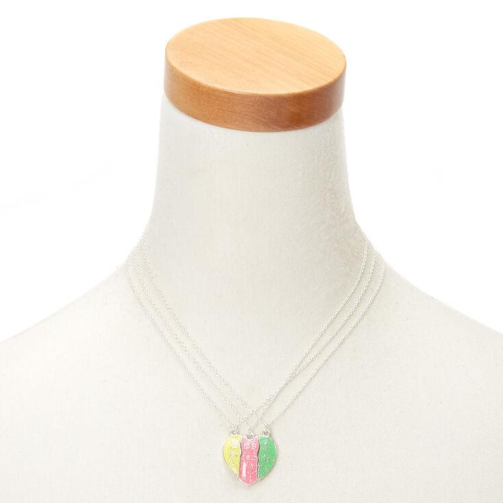 Colliers d'amitié à pendentif en forme de cœur à paillettes fluo - Lot de 3,