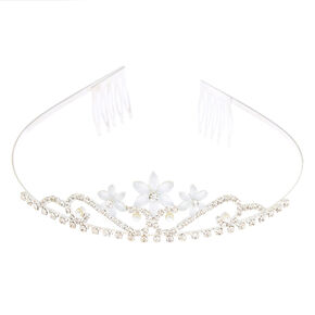 Silver Frosted Flower Tiara,