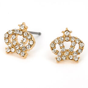 Gold Embellished Crown Stud Earrings,