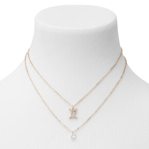 Gold Cubic Zirconia Zodiac Multi Strand Necklace - Gemini,