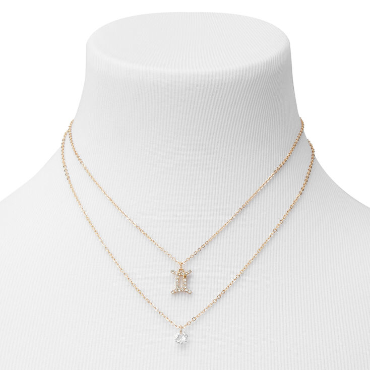 Gold Cubic Zirconia Zodiac Multi Strand Necklace - Gemini,