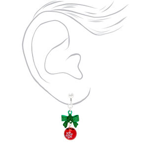 "Silver 1"" Holiday Bell Bow Clip On Drop Earrings,"