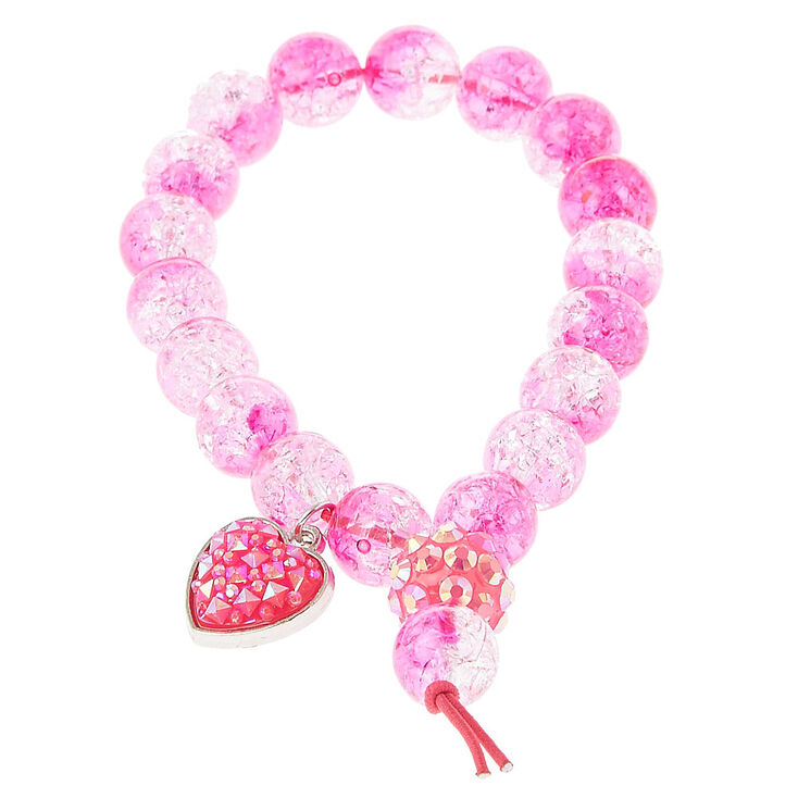 Ed Pink Bead Stretch Bracelet With Heart Charm