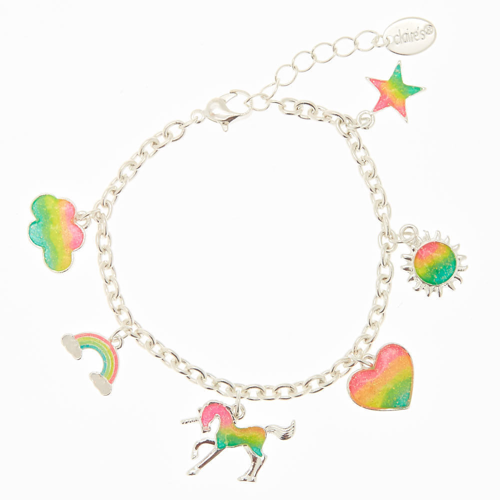 Claire/'s Girl/'s Rainbow Glitter Unicorn Clip On Earrings