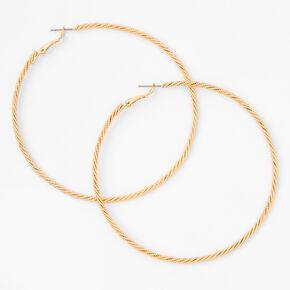 Gold 80MM Twisted Rope Hoop Earrings,