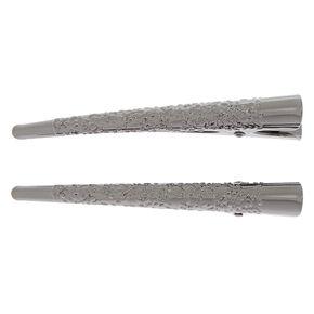 Filigree Hair Clips - Grey, 2 Pack,