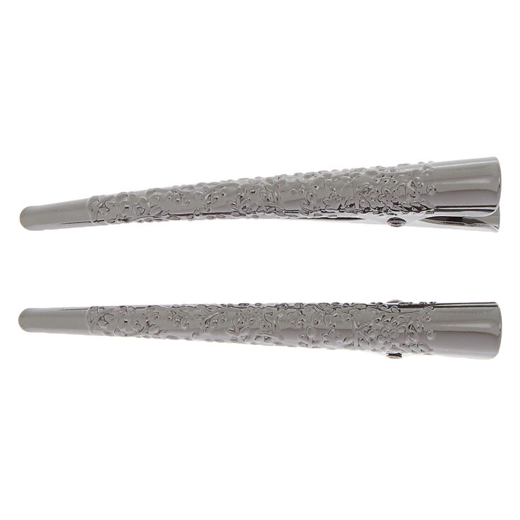 Filigree Hair Clips - Gray, 2 Pack,
