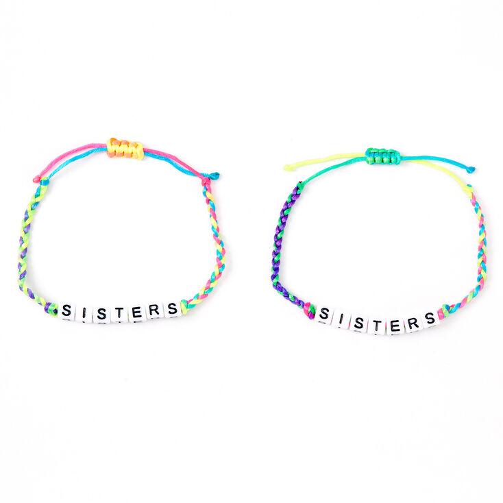 Neon Rainbow Sister Adjustable Braided Bracelets - 2 Pack,
