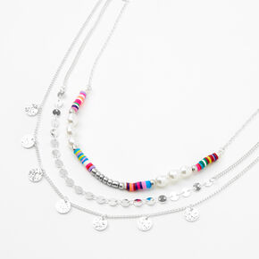 Silver Pearl Rainbow Disc Multi Strand Necklace,