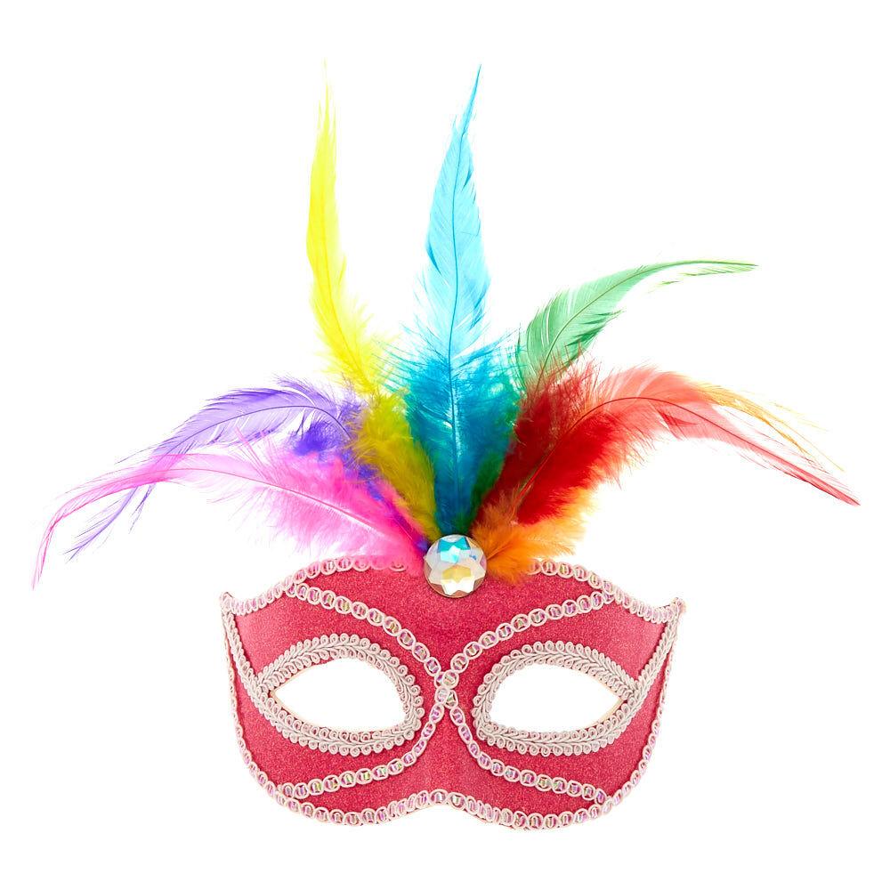 8b29ec8210f8 Kostüme & Verkleidungen Silver & Black Glitter Eye Mask With Gem & Feathers  Masquerade Ball Fancy Dress