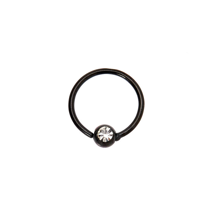 Hematite Titanium 20G Stone Cartilage Hoop Earring,