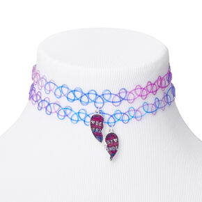 Best Friends Purple & Blue Heart Tattoo Choker Necklaces - 2 Pack,