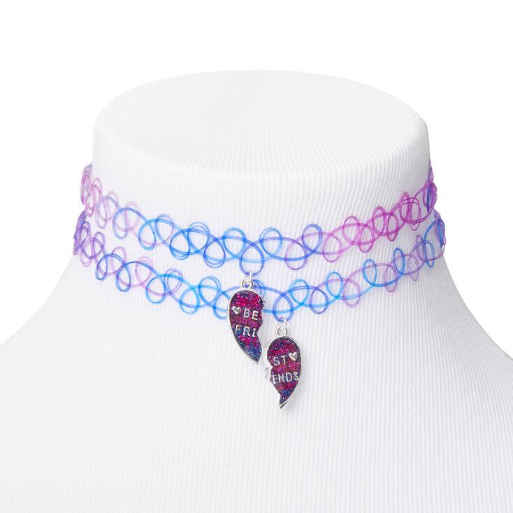 Best Friends Purple & Blue Heart Tattoo Choker Necklaces - 2 Pack,