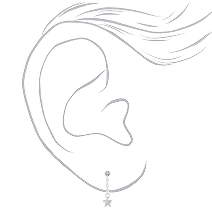 """Sterling Silver 1"""" Crystal Star Drop Earrings,"""