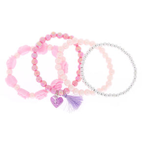 Claire's Club Rose Tassel Stretch Bracelets - Pink, 4 Pack,