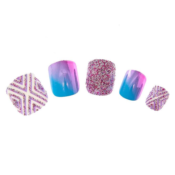 Kids Purple Glitter Ombre Chrome Press On False Nails Claire S Us