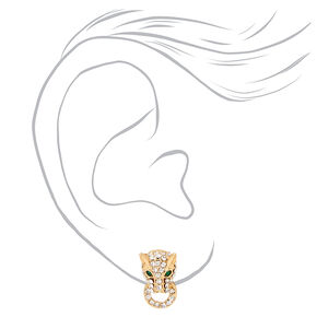 Gold Embellished Jaguar Door Knocker Stud Earrings,