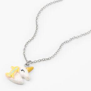 Silver Glitter Unicorn Charm Novelty Pendant Necklace,