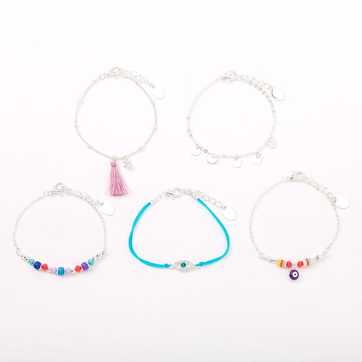 Bracelets chaîne mauvais œil aux couleurs vives - Lot de 5,