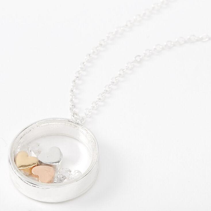 Collier à pendentif avec bague circulaire et cœurs flottants couleur argentée,