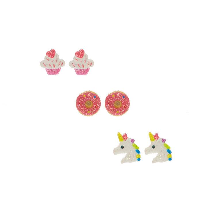 Clous d'oreilles gâteaux et licorne brillants,