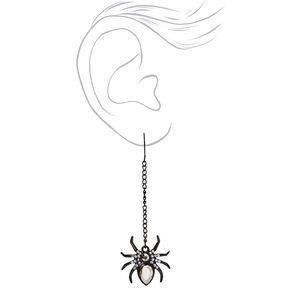 "Spider Gem 2.5"" Drop Earrings - Black,"