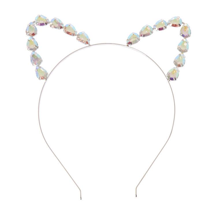 Headband oreilles de chat en strass irisés,